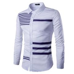 New Mens Turn-Down Collar Formal Shirts Men Long Sleeve Shirt Mens Color bar Dress Shirts white m