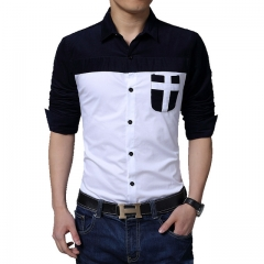 New Arrival Brand Patchwork  Slim Fit Dress Shirt Men Casual Shirt Male Clothing Size white m