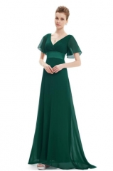 Evening Dresses  Flutter Sleeve Long Women Gown New Chiffon Summer Style Special Occasion Dresses green s