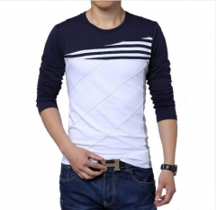 NEW patchwork o-neck casual striped t-shirt men long sleeve fitness men tee shirt clothing 1 l