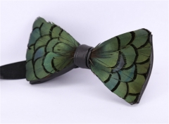 Mens luxury 100% handmade natural feather bow knot tie stage performance tuxedo bow tie green ons  size