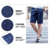 Summer cotton sports short pants men's shorts han edition summer beach pants plus size Black Int:3XL