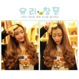 women temperament half wig headgear scroll half head wig on rolling simulation Brown Free Size