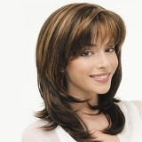 Women Long Curvy Wig with Bang Natural Looking for Daily Use Party GoldD Free Size