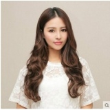 Women fashion wig bouffant hair sweet one-piece five clip long hair wig Brown Free Size
