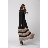 Muslim women's dress maxi dress long sleeve dress Dark blue,Black L