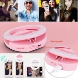 Rechargeable USB Charge Selfie Portable LED Ring Fill Light Camera for iPhone Android Phone Pink One Size