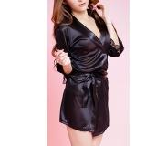 Women's Sleepwear Sexy Lace Kimono Robes Short Faux Stain Nightgowns Lingerie Black S/M