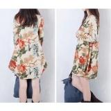 Korean women V collar loose cotton printing originaldress plus size Beige L