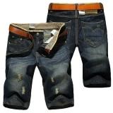 Men Summer thin waist straight hole cowboy pants retro Shorts jeans Blue Waist:33