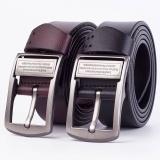 Men belt needle genuine leather belt buckle Black Waist:37