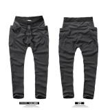 Men Jogger Casual Sport?Shorts Baggy Gym Harem Rope Pants Trouser Black Waist:33