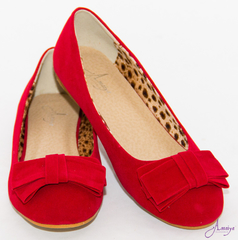 WINE RED SUEDE DOLL SHOES 39 Red