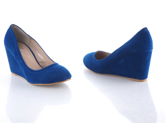Classic  Royal Blue Suede Wedge  Ladies Shoes Blue 36