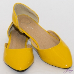 Amaiya Elegance Yellow Pointed Toe Ballerina Ladies Shoes