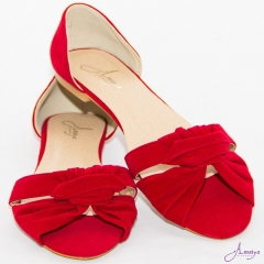 Amaiya Elegance Red Open Toe Ballerina Ladies Shoes