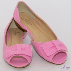 Amaiya Elegance Pink Open Toe Ballerina Ladies Shoes