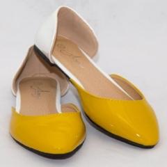 Amaiya Elegance White Yellow Naked Pointed Toe Ballerina Ladies Shoes