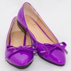 Amaiya Elegance Royal Purple Wet  Look Pointed Toe Ballerina Ladies Shoes Royal Purple 40