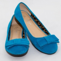 Amaiya Elegance Blue Bow Ballerina Ladies Shoes