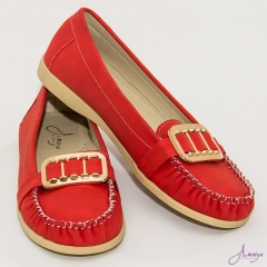 Amaiya Elegance Red Buckled Flat Ballerina Ladies Shoes Red 36