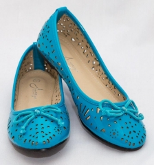 Amaiya Elegance round toe geo cut patent leather with simple bow blue 39
