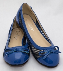 Amaiya Elegance round toe patent leather with mesh design , simple bow blue 39