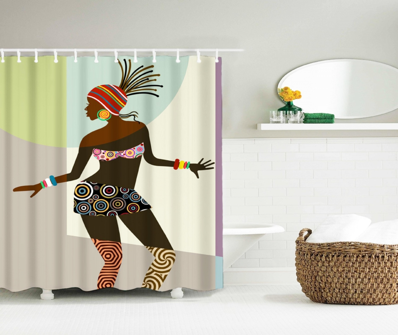 71x71 3d waterproof african women style bathing shower for African bathroom decor ideas