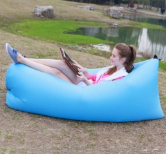 Outdoor Lazy Boat Sleeping Bag Portable Foldable Fast Air Inflatable Sofa Bed Beach Mat Sofa black 2.5M