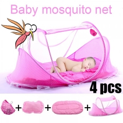 Summer Baby Bed Crib Mosquito Netting Cushion Portable Infant Folding Babies Mosquito Net Mattress blue 110*60*60 cm