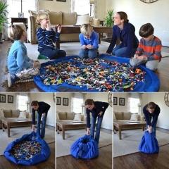 Plus Size Portable Kids Play Mat Waterproof Toy Bag Creative Storage Bag blue