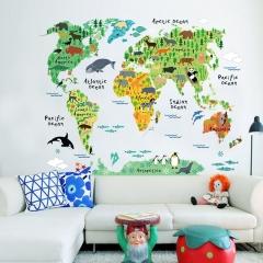 "24""X35"" Cute World Map Sticker Wall Sticker Art Kids Room Home Decor For Children multi-color 24"