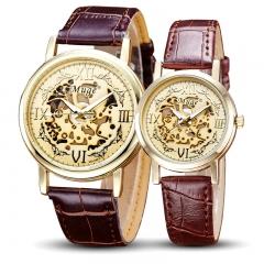 1xFashion Couple Lovers Engraved Watch Roman Scale Retro Gold Watch Belt Quartz Watch gold men