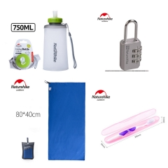Sports kit( Folding Water Bottles+Toothbrush Tube+Coded Lock+Quick Drying Towel) one color