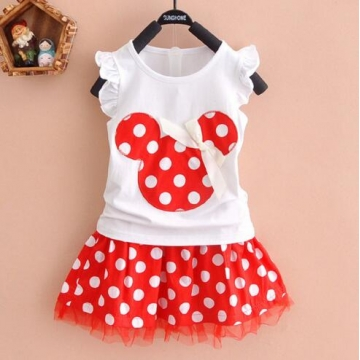 Girls Princess Clothes CartoonyMini Dress ball gown dress lace+cotton material Shirt + skirt 1 130cm
