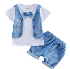 2017 SummerBoys Suits Cotton Clothes Sets Vest T Shirt+Shorts  Kids Children Casual  Suits white S
