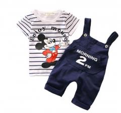 Cartoon Mouse  Boy's Clothing Set 2017 New Toddler Boys Clothes Kids Clothes T-shirt+Shorts dark blue 80