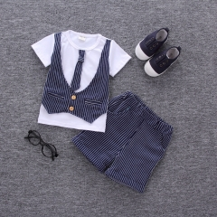 2017 Summer new fashion baby boys clothes set cotton with striped infant clothing set dark blue 80