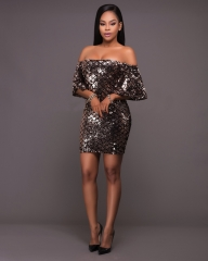 Sexy Club Bodycon Dress 2017  Women Short Sleeve One-Piece Sheath Sequined Dress Elegant Party #001 s