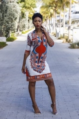 Women Fashion Summer Dress African Print Dress Casual Straight Bohemia Sleeveless Mini Dress white s