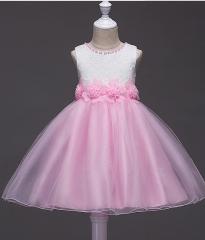Children 's spring and summer children' s lace princess dress net yarn dress girls dress dress pink 110cm
