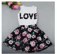 Girls Letter Love Flower Clothing Sets Top+Short Skirt Kids Clothes mixcolor 100/2-3Y
