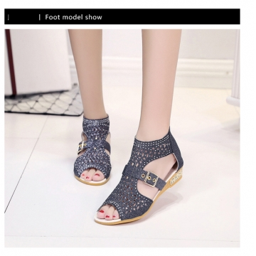 7 summer shoes high to help fish mouth hollow sandals female zipper slope with diamond diamond shoes black 39