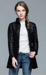 Woman Coat 90% White Duck Down Long Jacket Female Overcoat Ultra Light Slim Solid Jackets Winter black s