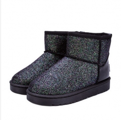 Glitter Snow Boots Women Thick Fur Warm Flat Platform Cotton Sequined Cloth Ankle Boots Winter Shoes black US6