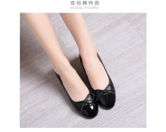 Bow bottom of the bottom of the flat shoes with flat shoes black 34
