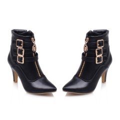 New Shoes Women Boots High Heels Ankle Boots Pointed Toe Buckle Martin Boots Zip Ladies Shoes black 39
