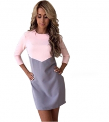 Women Dress Sexy Casual Patchwork Mini Dress O-Neck Three Quarter Sleeve Bodycon Dress Vestidos pink gray S