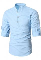 Men Henley Neck Long Sleeve Daily Look Linen Shirts blue S