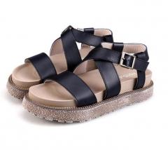 2017 Shoes Woman Trifle Heel Gladiator Sandals  Bandage Flip Flops Thick Bottom Platform Sandals black US4